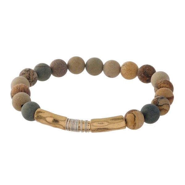 Wholesale natural stone beaded stretch bracelet gold hammered bar