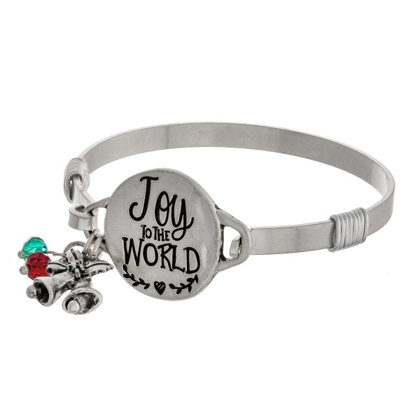 """Joy to the World engraved silver Christmas bangle charm bracelet with wire wrapped details and hook closure. Approximately 2.5"""" in diameter. Fits up to a 5"""" wrist."""