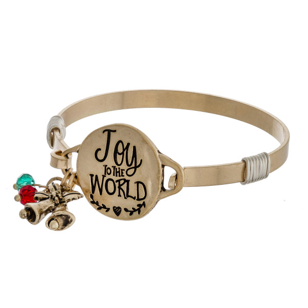 """Joy to the World engraved gold Christmas bangle charm bracelet with wire wrapped details and hook closure. Approximately 2.5"""" in diameter. Fits up to a 5"""" wrist."""