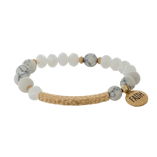 "Natural stone and faceted bead stretch bracelet with a circle charm, stamped with ""Faith."""