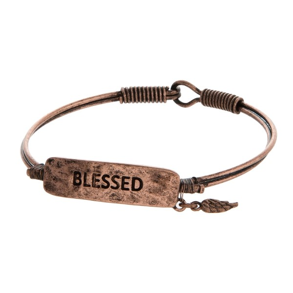 """Burnished, bangle bracelet with a focal stamped with """"Blessed."""""""