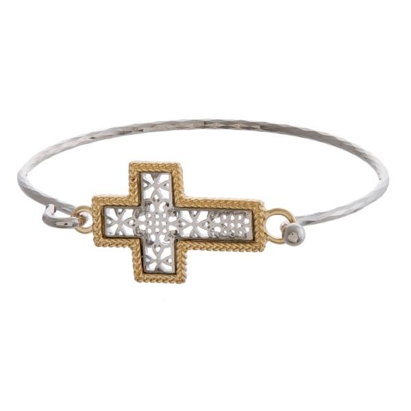 Wholesale gold bangle bracelet filigree cross