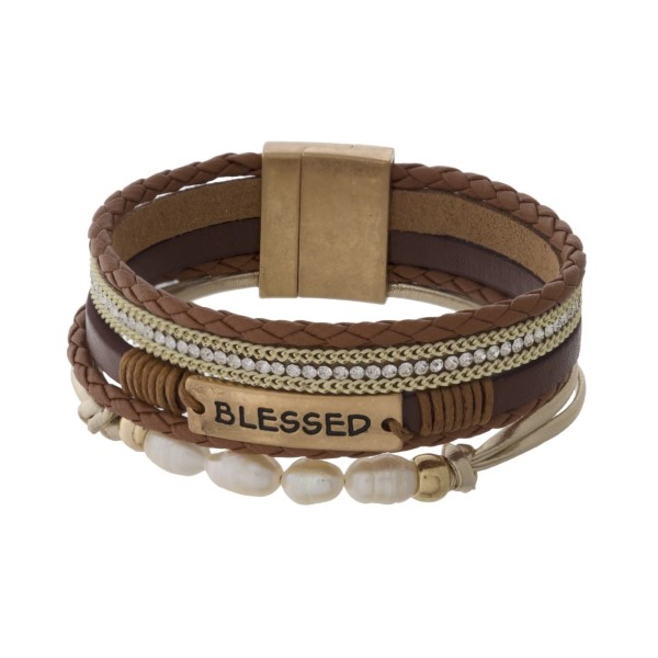 Magnetic, leather bracelet with chain and pearl detail stamped with Blessed.