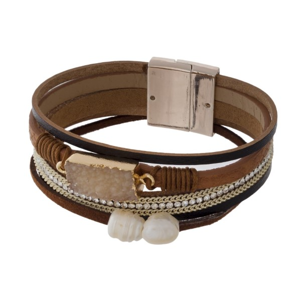 Magnetic, leather bracelet with chain accent, pearl detail, and druzy focal.