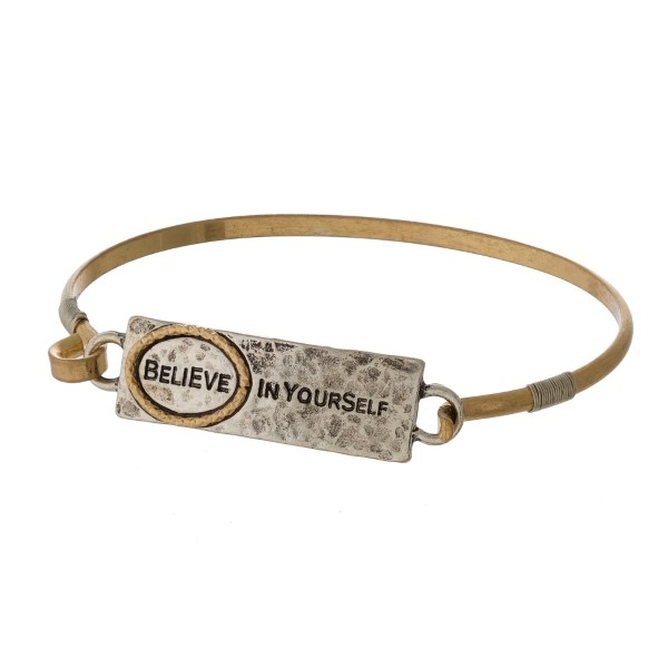 Wholesale burnished metal bracelet stamped encouraging message latch closure