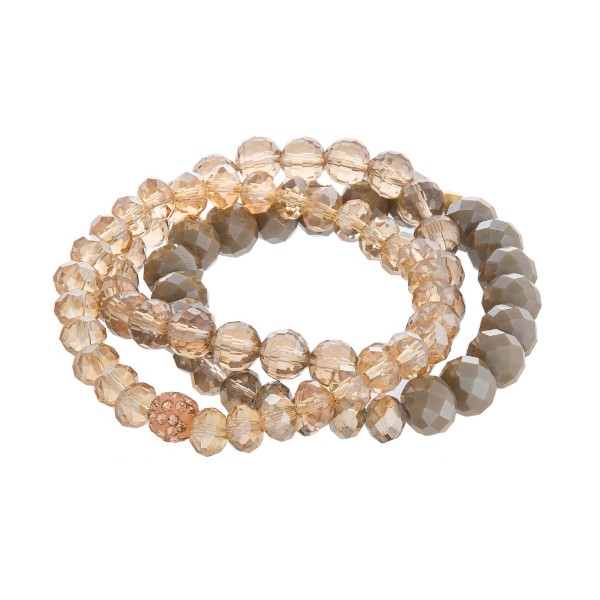 Three Dainty, faceted bead, stackable stretch bracelet.