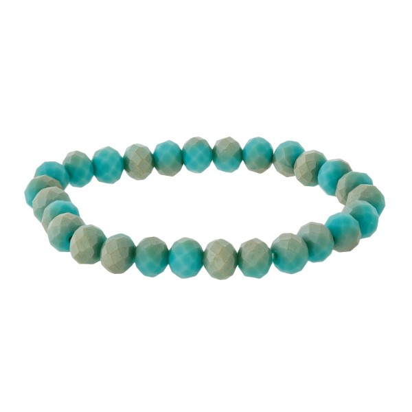 Dainty, faceted bead, stackable stretch bracelet.