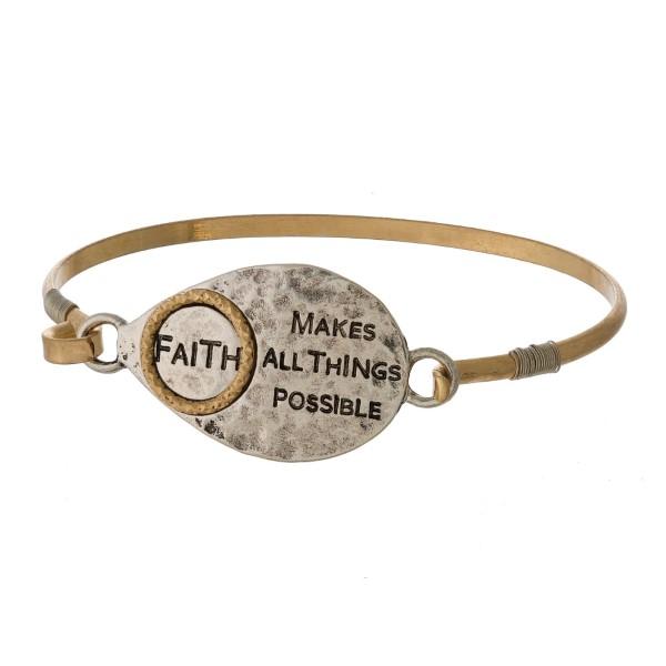 Wholesale burnished metal bracelet stamped encouraging message latch closure