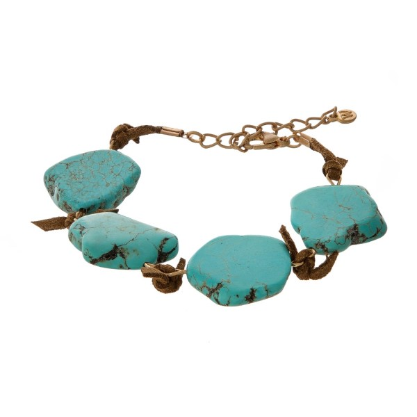 Brown faux suede bracelet with a natural stone nuggets.