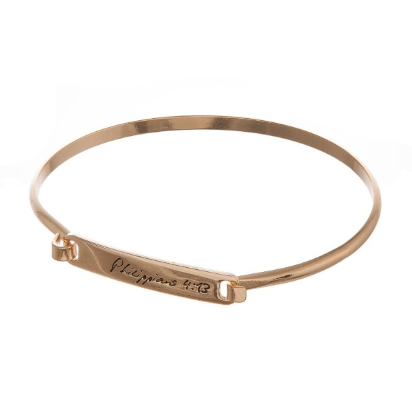 """Metal bracelet stamped with """"Philippians 4:13."""""""