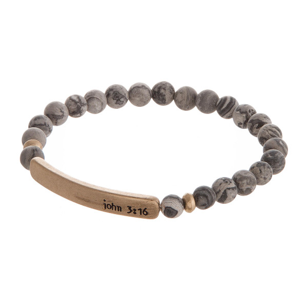 """Natural stone stretch bracelet stamped with """"John 3:16."""""""