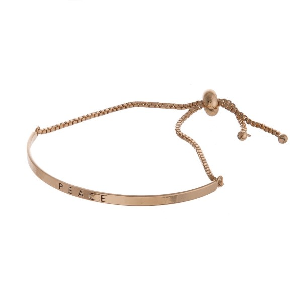 Wholesale metal slide bracelet stamped Peace