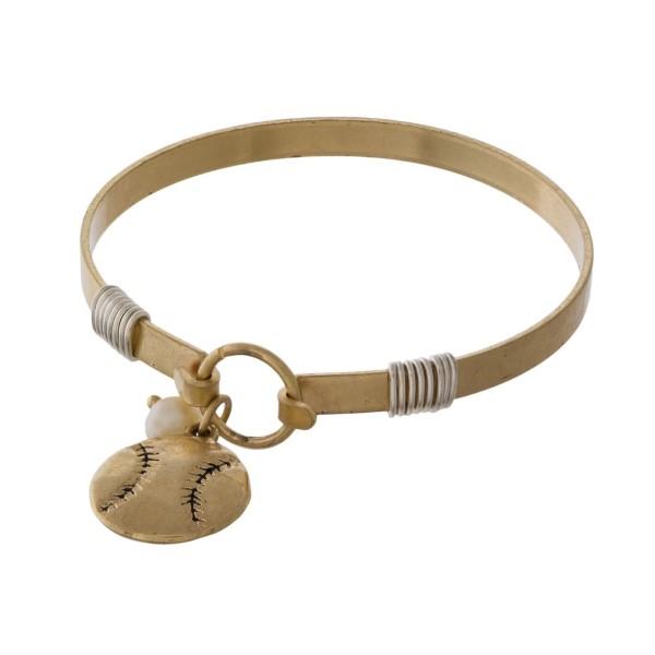 Metal bracelet with baseball charm.