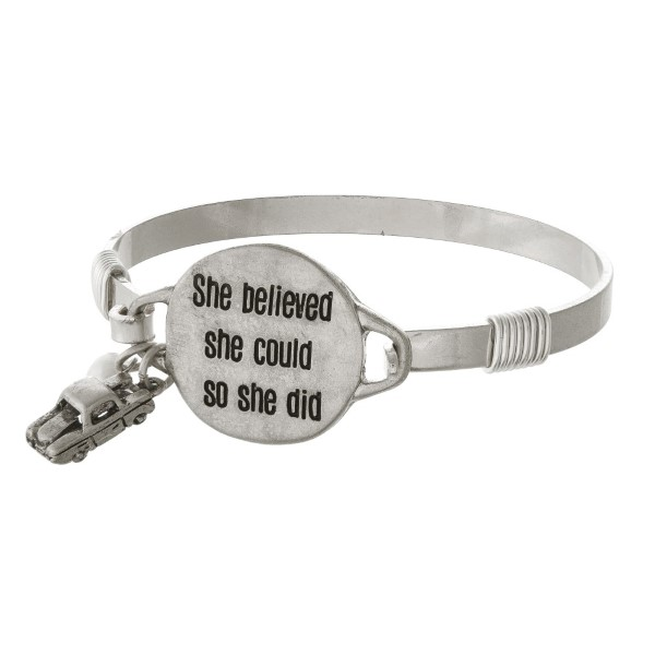 Metal bracelet stamped with She Believed She Could so She Did.