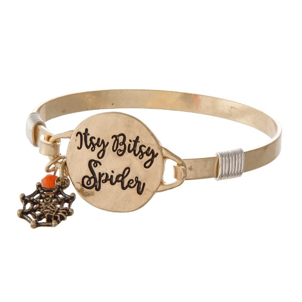 Metal bracelet stamped with Itsy Bitsy Spider.