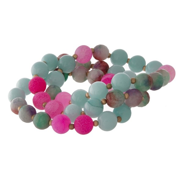 Three bracelet set with natural stone and crackle beads.