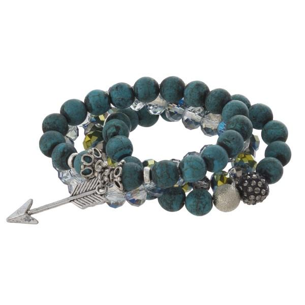 Beaded stretch bracelet with charm.