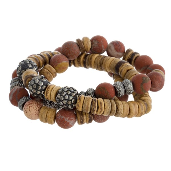 Natural stone beaded stretch bracelet set.