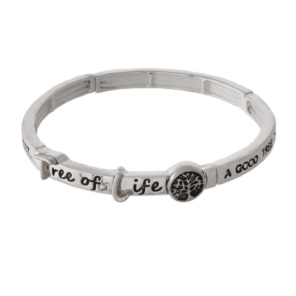 """Metal stretch bracelet stamped with """"A Good Tree Cannot Bear Bad Fruit, and a Bad Tree Cannot Bear Good Fruit."""""""