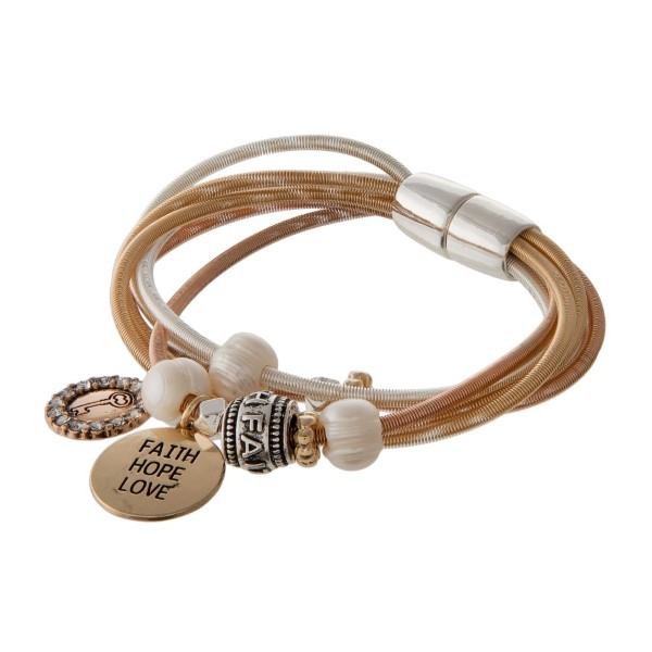 Metal cord bracelet with magnetic closure stamped with Faith Hope Love.