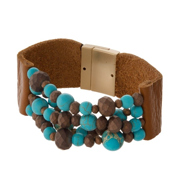 Genuine leather bracelet with natural stone beads.