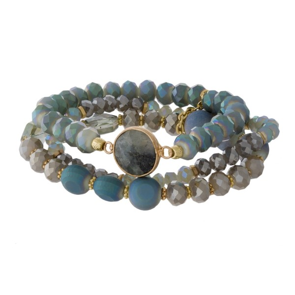 Stretch bracelet set with natural stone focal.
