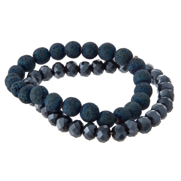 Stretch bracelet set with matte and faceted beads.