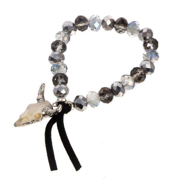 Faceted bead bracelet with steer head charm.