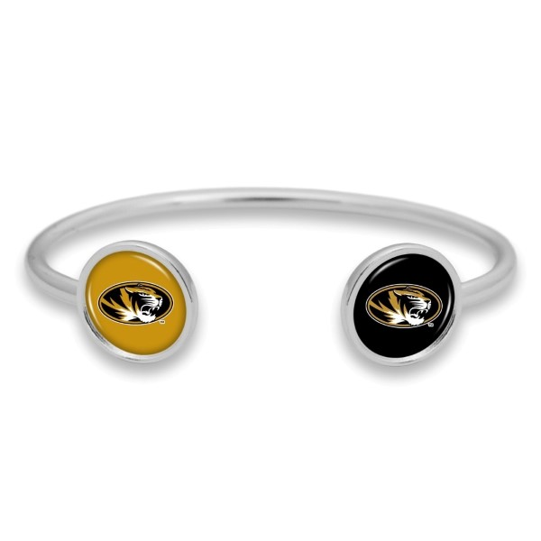 Officially licensed, silver tone cuff bracelet with university logo.