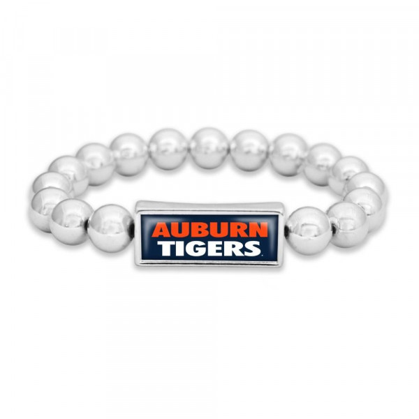 Officially licensed silver tone stretch bracelet with university logo.