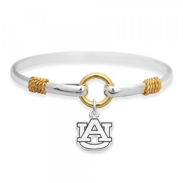 Officially licensed, silver tone bangle bracelet with the university logo.