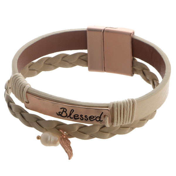 """Faux leather magnetic cuff bracelet with bar focal and inspirational message. Approximate 15"""" in length."""