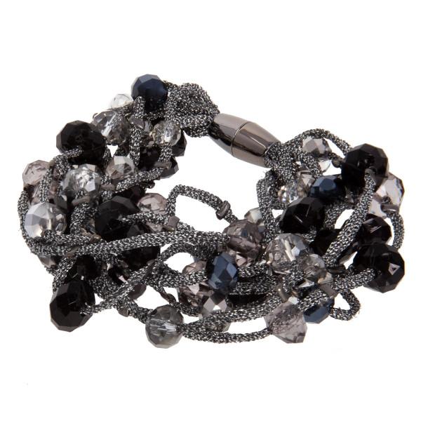 Layered beaded magnetic bracelet.