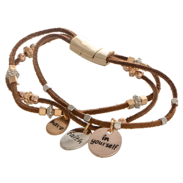 """Faux leather bracelet with bead detail. """"Have Faith in Yourself"""" Approximate 4"""" in length."""
