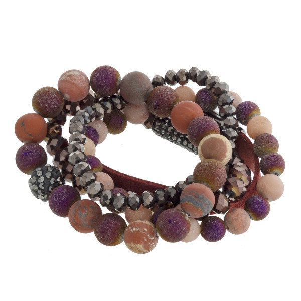 Beaded and magnetic five bracelet set.