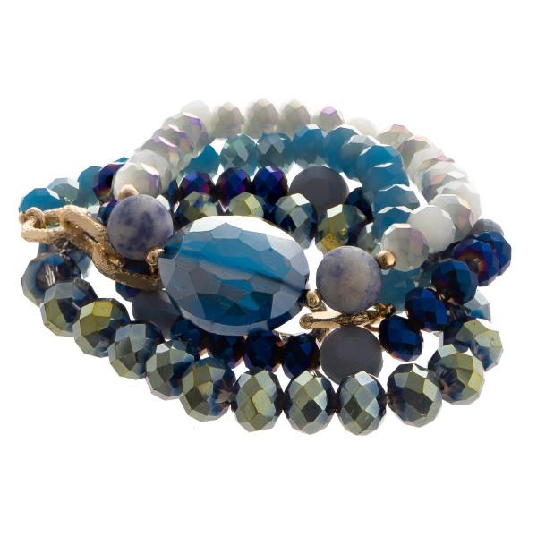 Beaded stretch multi bracelet set with oval jewel focal.