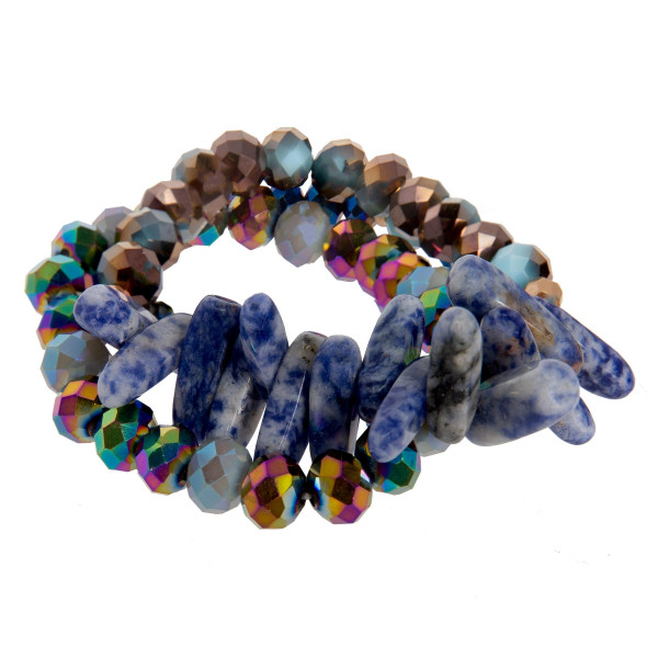 Stretch beaded bracelet set with natural stone accents.