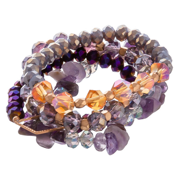 """Beautiful natural stone and bead stretch bracelet. Approximate 3.5"""" in diameter."""