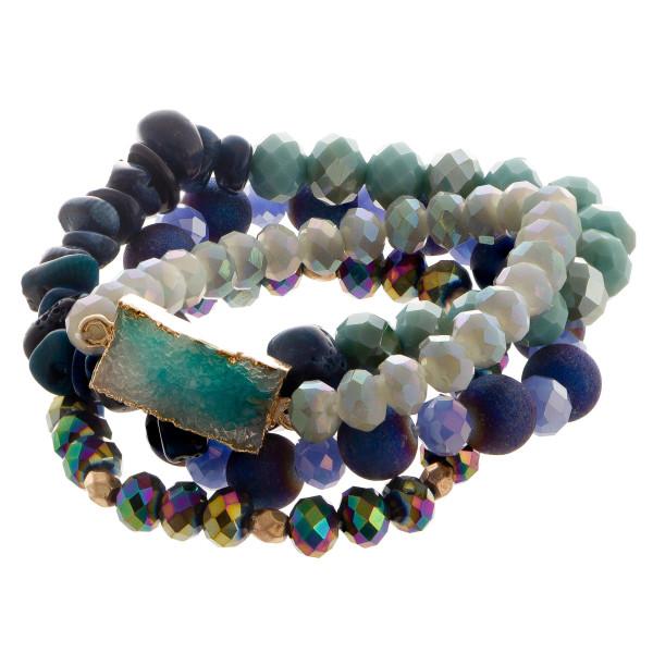 Beaded stretch multi bracelet set with rectangular faux druzy focal.