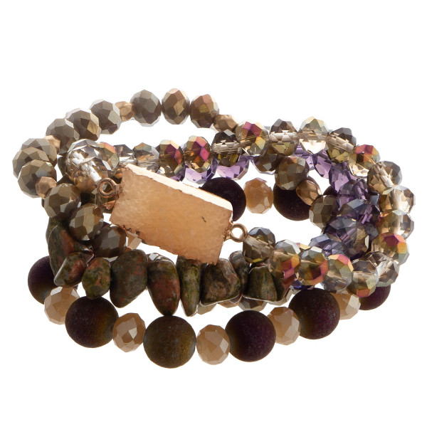 Beaded stretch multi bracelet set with rectangular faux druzy focal.