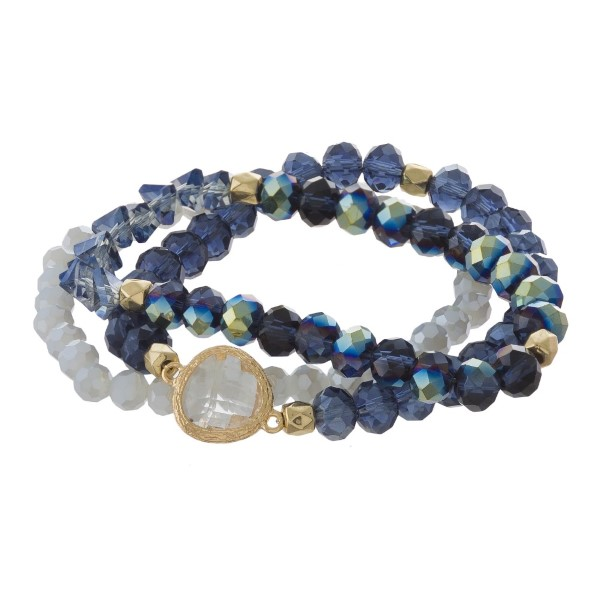 Faceted bead bracelet set with crystal focal.
