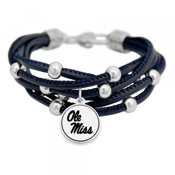 Officially licensed collegiate cord bracelet with university logo.