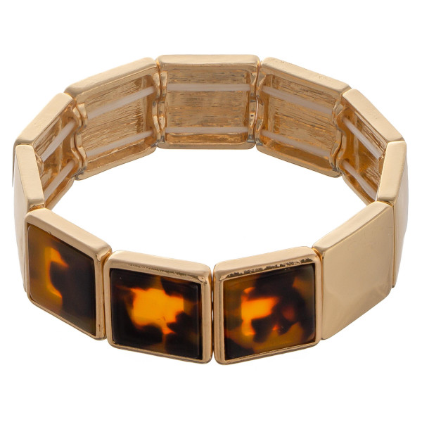 "Square shaped bracelets with acetate detailed.  Approximate 6"" in length."