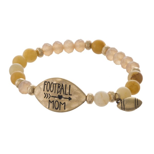 Beaded stretch bracelet with focal stamped with Football Mom.