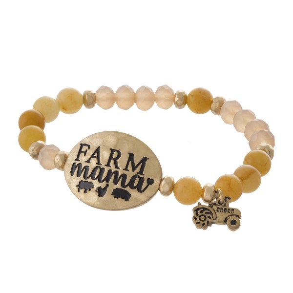 Beaded stretch bracelet with focal stamped with Farm Mama.