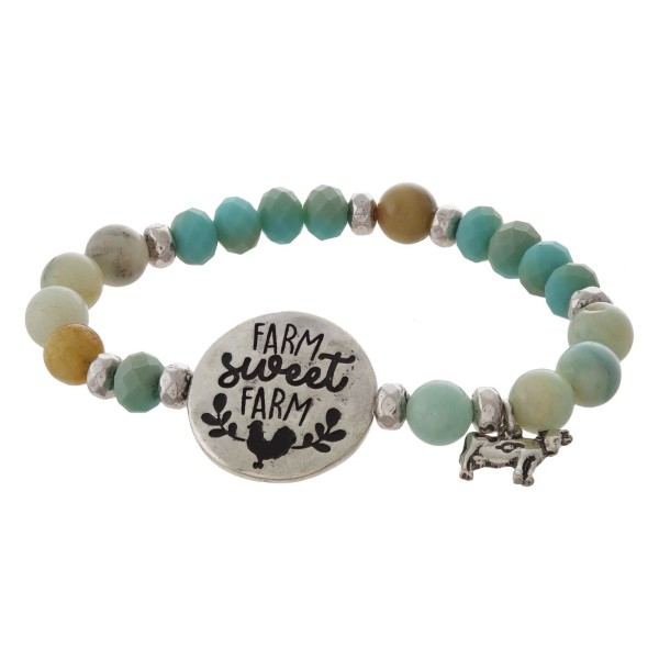 Beaded stretch bracelet with focal stamped with Farm Sweet Farm.
