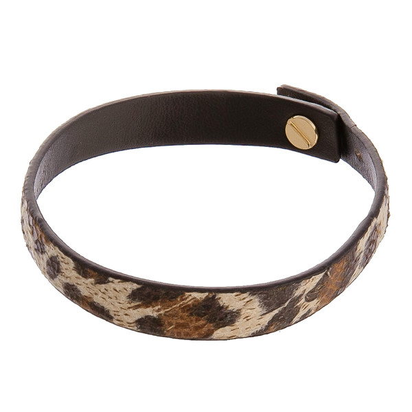 """Cheetah animal print bracelet with button snap. Approximate 6"""" in length."""