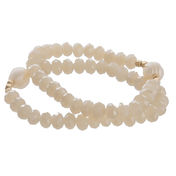 """Multi layered bracelet with pearl detail. Approximate 8"""" in diameter."""