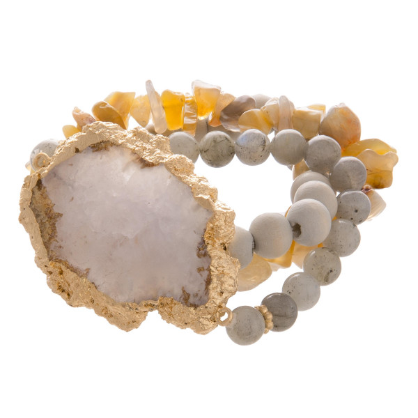 Grab one of these gorgeous strecth multi color bracelets. Natural stone beads with natural stone charm.