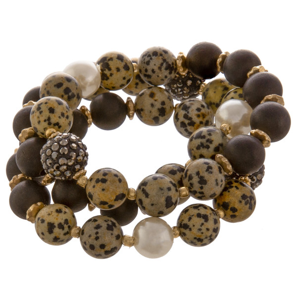 """Gorgeous stretch natural stone necklace with rhinestones. Approximate 3"""" in diameter."""